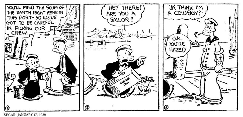 Primer historieta de Popeye el Marino, en 1929